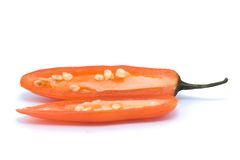 Red hot chilli cut in halve Stock Photo
