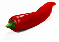 Red hot chilli pepper. Red chilli pepper from above isolated on white background food and vegetables concept stock photo