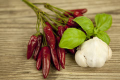 Red hot chilli pepper with basil and garlic on table Royalty Free Stock Photos