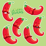 Red hot chilli pepper with different emotions. Vector fruits set stock illustration