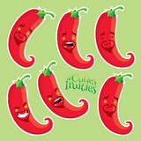 Red hot chilli pepper with different emotions. Vector fruits set royalty free illustration
