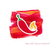Red hot chilli pepper label. Creative illustration stock illustration
