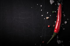 Red hot chilli pepper with sea salt and colored pepper on black Royalty Free Stock Images