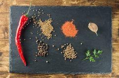 Pepper and spices top view on the background of slate. Red hot chilli pepper, spices, mustard, coriander, parsley, garlic, plank black slate and wooden board Stock Images