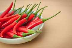 Red hot chilli peppers. Bowl of hot red chilli peppers Stock Photos