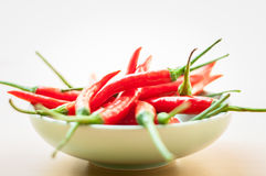 Red hot chilli peppers. Bowl of hot red chilli peppers Royalty Free Stock Photography