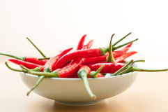 Red hot chilli peppers. Bowl of hot red chilli peppers Royalty Free Stock Image