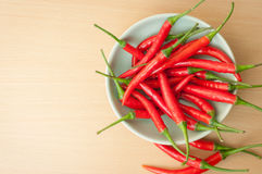 Red hot chilli peppers. A bowl of hot chilli peppers with copy space Stock Photo