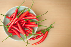 Red hot chilli peppers. A bowl of hot chilli peppers with copy space Royalty Free Stock Photo