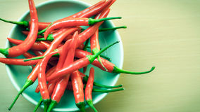 Red hot chilli peppers. A bowl of hot chilli peppers with copy space Royalty Free Stock Image