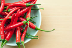 Red hot chilli peppers. A bowl of hot chilli peppers with copy space Stock Photos