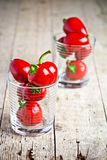 Red hot chilli peppers in glasses Royalty Free Stock Image