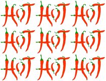 Red Hot Chilli Peppers - pattern. Pattern of words HOT maked from peppers illustration vector illustration