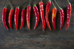 Red hot chilli pepperson wooden tabel background. Photo of Red hot chilli pepper on wooden tabel background Stock Photo