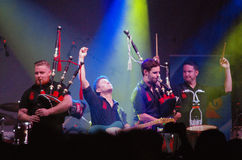 The Red Hot Chilli Pipers, Fergus Highland Games, Aug. 7, 2015 Royalty Free Stock Image