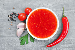 Red hot chilli sauce Royalty Free Stock Photo