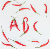 Red hot chilli spelling word ABC Stock Photography