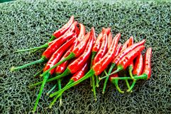 Red hot chillies lay flat  over backgroung. Image Stock Photography