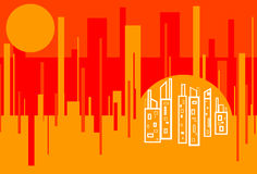 Red Hot Cityscape Abstract Background Stock Image
