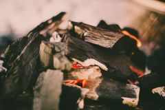 Red hot coal for cooking. A big bonfire to prepare delicious food on a beautiful afternoon stock photos
