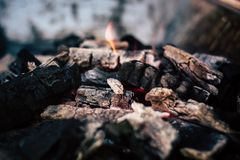 Red hot coal for cooking. A big bonfire to prepare delicious food on a beautiful afternoon royalty free stock photography