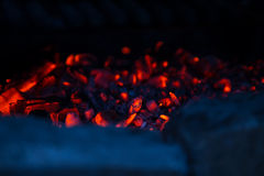 Red hot coals, abstract close up background Stock Photo