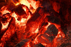 Red-hot coals. Ember in the oven. Red-hot coals stock image