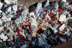 Red-hot coals of fire. Red-hot coals of a fire smoldering beautiful color, emitting a lot of heatn Stock Photos