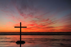 Red Hot Cross Sunset Royalty Free Stock Image