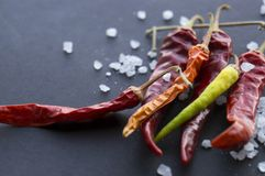 3a5bc728f42e Red Hot Dried Chili Peppers And Sea Salt On Black Surface Stock Photo -  Image of ingredients