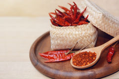 red hot dry chili peppers Stock Photo