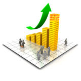 Red-hot economy. XXL 3D render of a green arrow rising above a bar chart that has the extreme right stack flaming hot. Business men in different poses surround Royalty Free Stock Photos