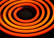 Red hot electric cook top coil Stock Photos