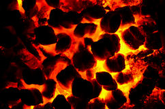 Red Hot Embers from a Fire. The coal laying at the bottom the fire has turned into red,hot glowing embers royalty free stock photos