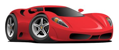 Red Hot European Style Sports-Car Cartoon Vector Illustration. Hot red modern Italian style sports-car, super-car cartoon, vector illustration stock illustration