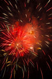 Red Hot Fiery Explosive Colorful Fireworks Stock Photo