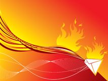 Red hot fire mail. Illustrated background Stock Image