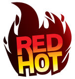 Red Hot flame logo icon. Red hot flame logo with red and yellow type icon Stock Image