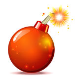 Red hot bomb. Red hot glossy bomb with burning wick and shadow Royalty Free Stock Photography