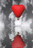 Red hot hair balloon in the shape of a heart Royalty Free Stock Photo