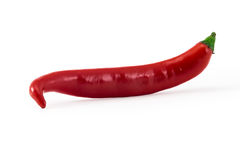 Red hot  juicy pepper isolated on white Stock Photos