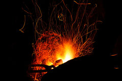 Red hot lines sparks on a black background Stock Images