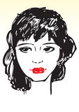 Red hot lips drawing. Hand drawn illustration of a lady with red lips Royalty Free Stock Photos