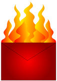 Red Hot Mail. Graphic. Red envelope with flames over a white background Royalty Free Stock Photography