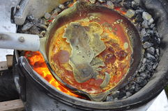 Red-hot melting pot. In coal fire Stock Photo
