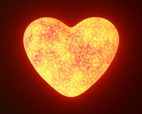 Red hot metal glowing heart. On black royalty free stock images
