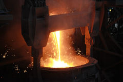 Red-hot molten steel Stock Photo