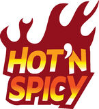 Red Hot n spicy flame text logo icon. Hot and spicy flame fun text icon Royalty Free Stock Images