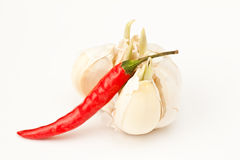 RED HOT PEPPER. With garlic Stock Image