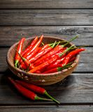 Red hot pepper in bowl. On wooden background royalty free stock images